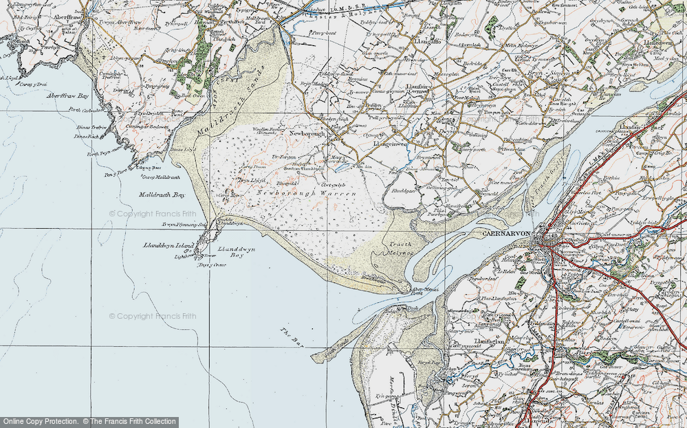 Old Map of Historic Map covering Abermenai Point in 1922