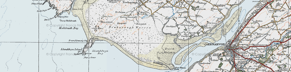 Old map of Abermenai Point in 1922