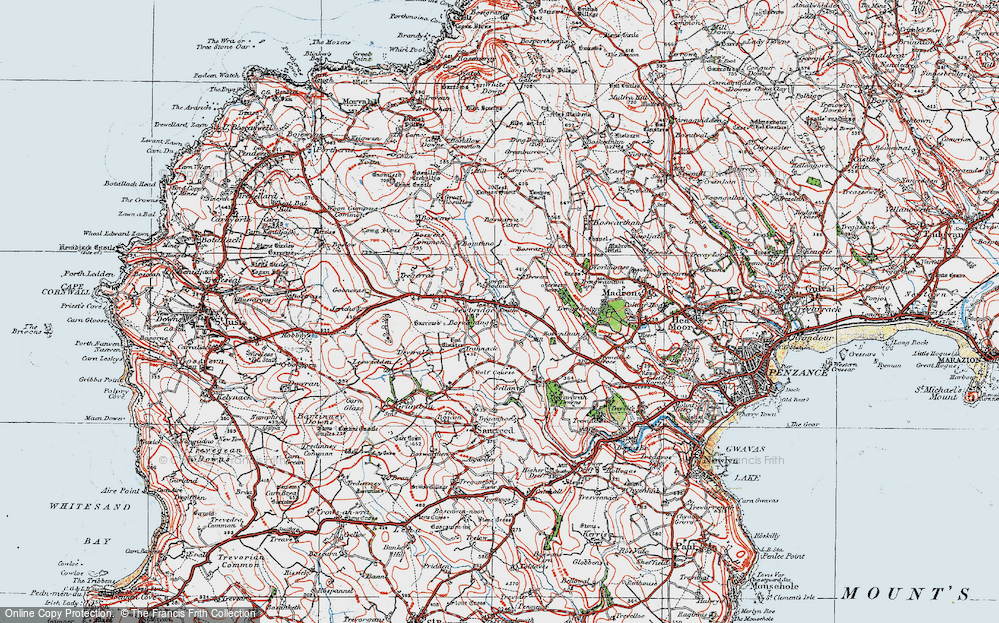 Old Map of Historic Map covering Wheal Buller in 1919