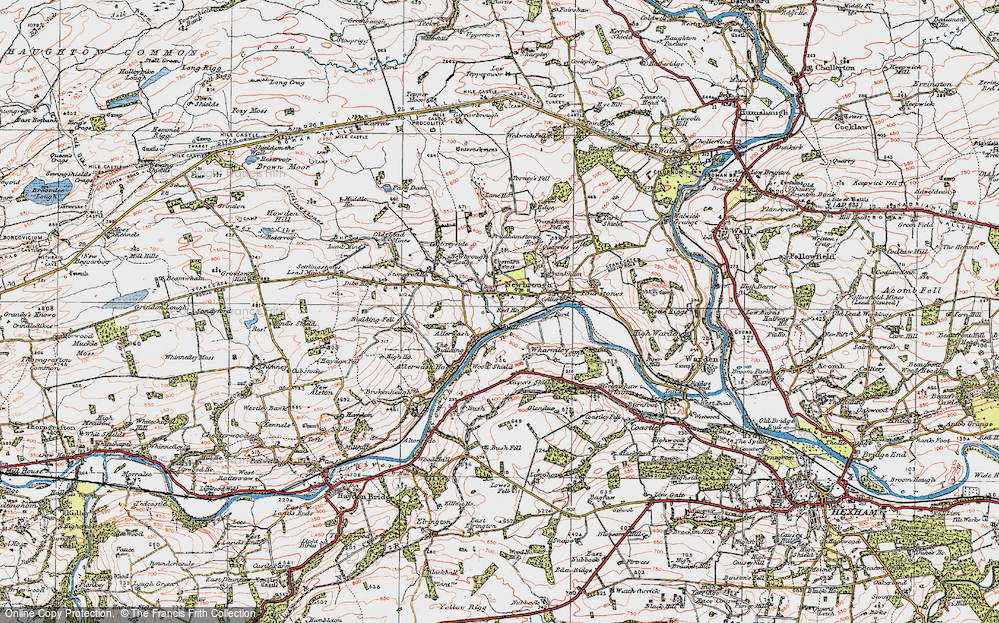 Old Map of Historic Map covering Allerwash in 1925