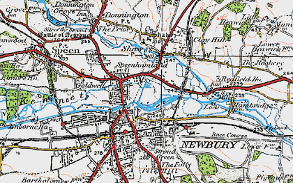 Old map of Newbury in 1919
