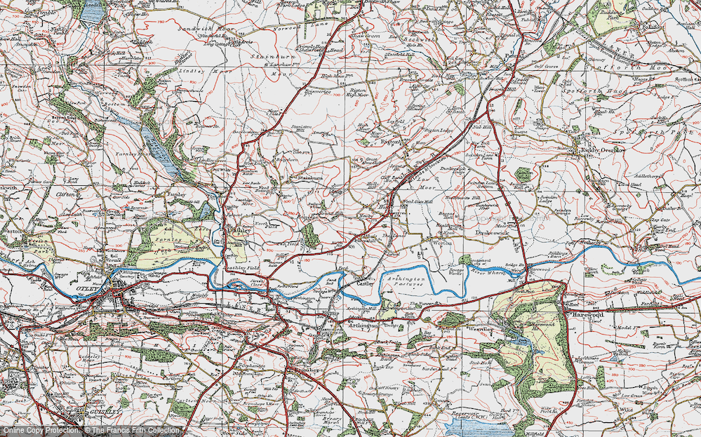 Old Map of Historic Map covering Bailey's Whins in 1925