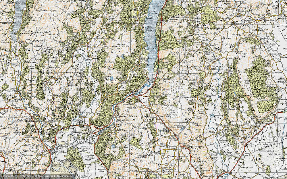 Old Map of Historic Map covering Line Riggs in 1925
