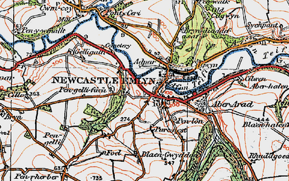 Old map of Newcastle Emlyn in 1923