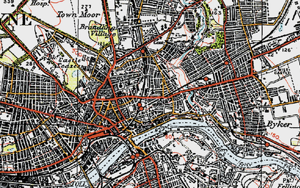 Old map of Newcastle upon Tyne in 1925