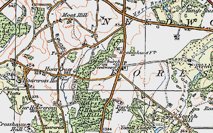 Old map of Yoxall Lodge in 1921