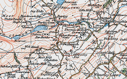 Old map of Newchurch in Pendle in 1924