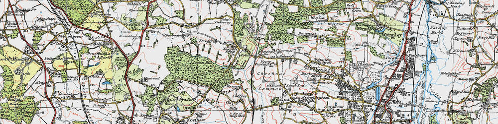 Old map of Wormley Wood in 1920