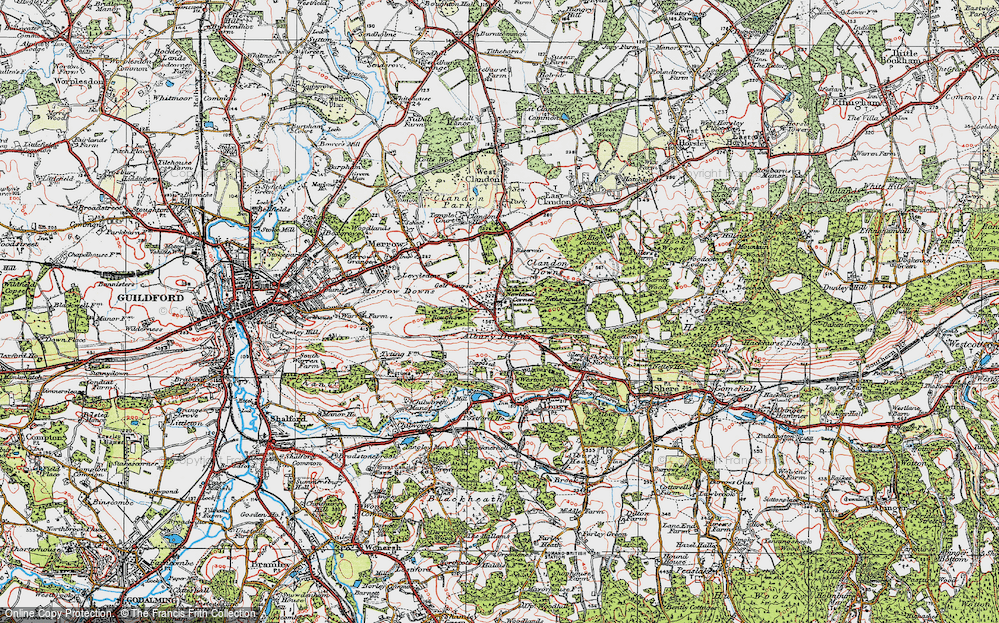 Old Map of Historic Map covering Albury Downs in 1920