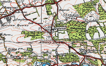 Old map of Albury Downs in 1920