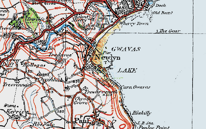 Old map of Newlyn in 1919