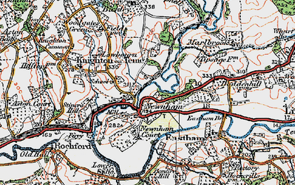 Old map of Newnham Bridge in 1920
