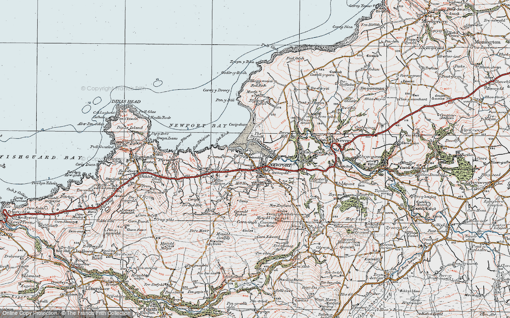 Old Map of Historic Map covering Afon Nyfer in 1923