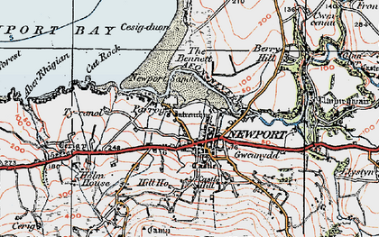 Old map of Newport in 1923