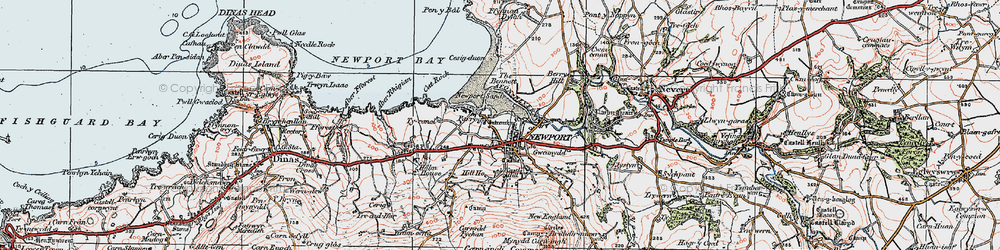 Old map of Afon Nyfer in 1923