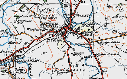 Old map of Newport Pagnell in 1919