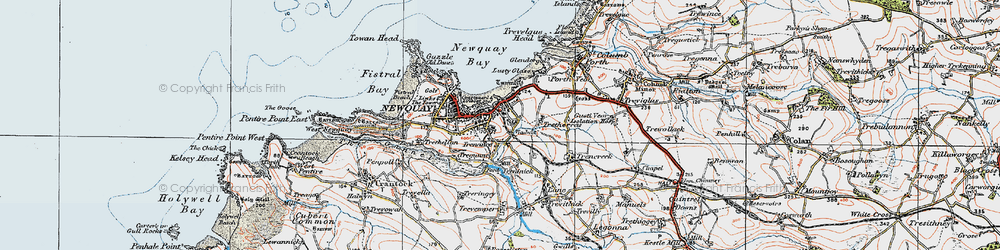 Old map of Newquay in 1919