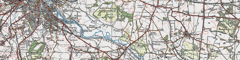 Old map of Leventhorpe Hall in 1925