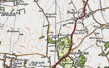 Old map of Whiteley Hill in 1920