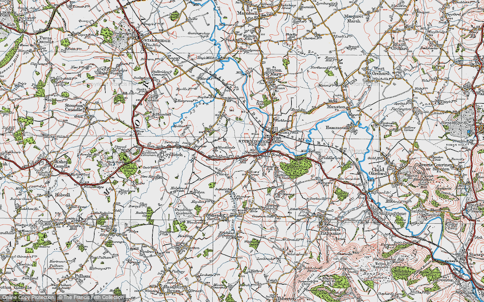 Old Map of Historic Map covering Bagber Common in 1919