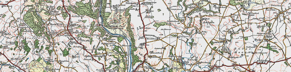 Old map of Winscote Hills in 1921