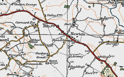 Old map of Newton in 1921