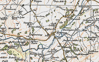 Old map of Newton-in-Bowland in 1924