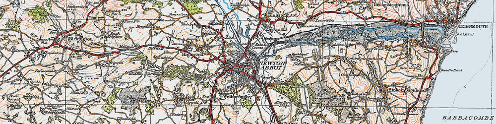 Old map of Newton Abbot in 1919
