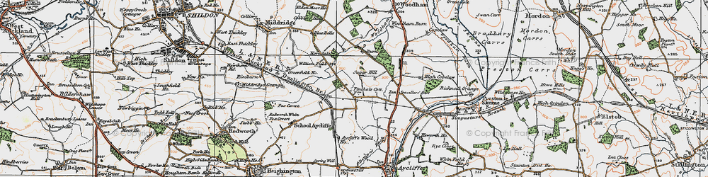 Old map of Newton Aycliffe in 1925