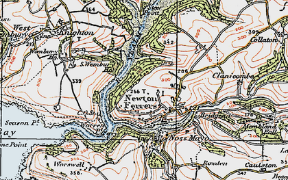 Old map of Newton Ferrers in 1919