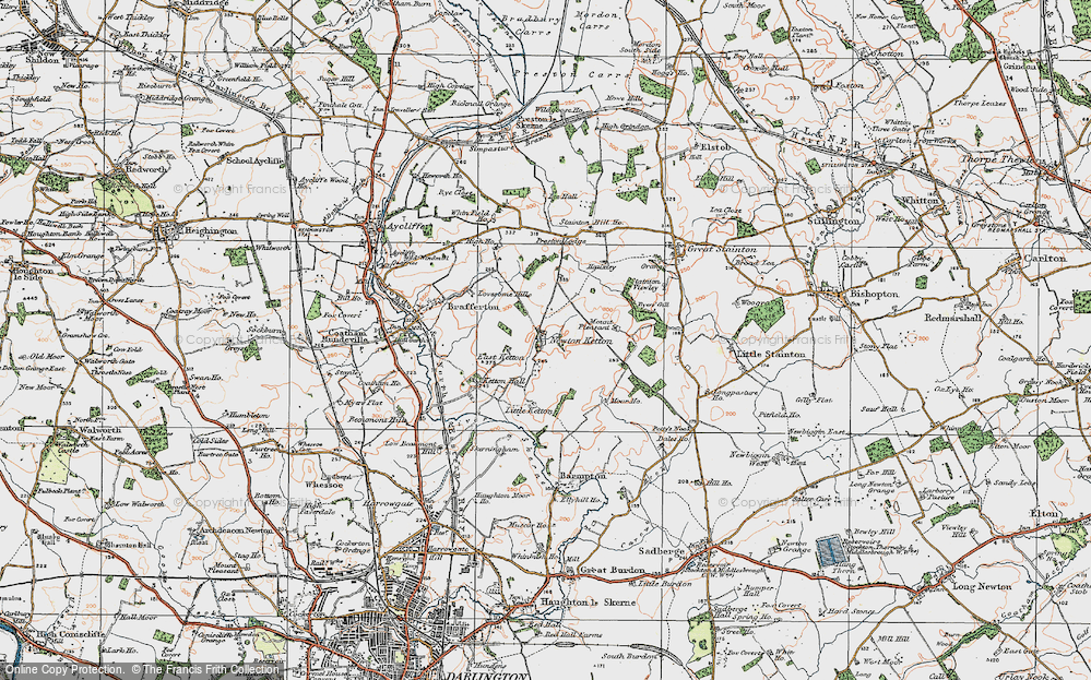 Old Map of Historic Map covering Lea Hall in 1925