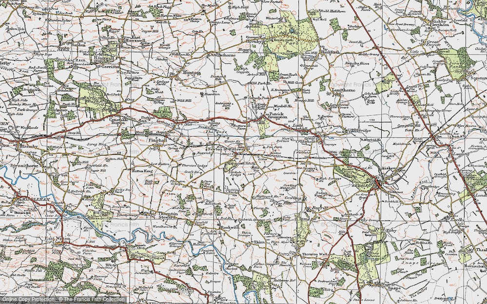 Old Map of Historic Map covering Aysgarth School in 1925