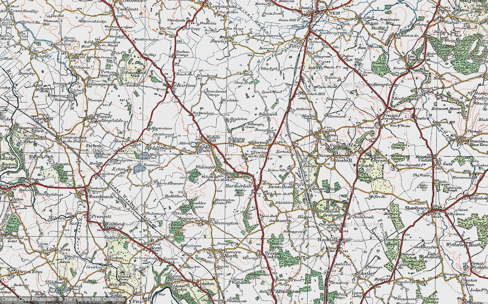 Old Map of Historic Map covering Balderton Hall in 1921