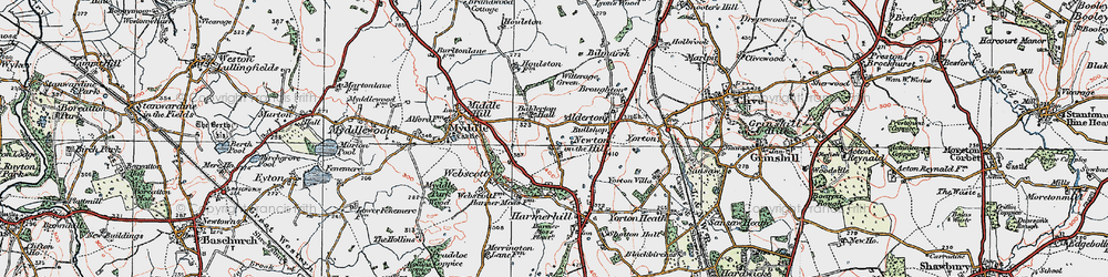 Old map of Witterage, The in 1921