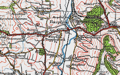 Old map of Newton Poppleford in 1919