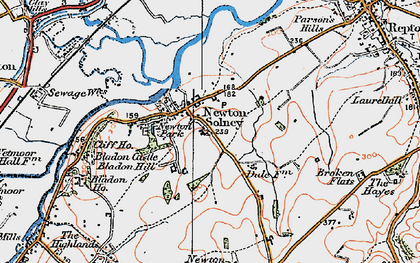 Old map of Newton Solney in 1921