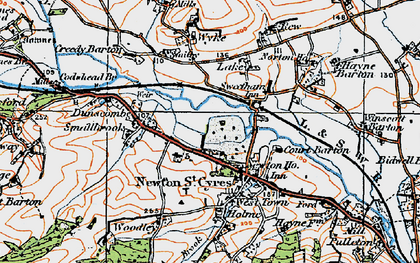 Old map of Newton St Cyres in 1919