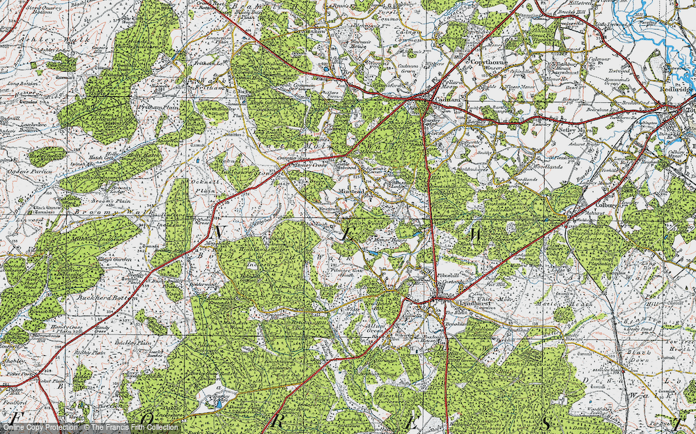 Old Map of Historic Map covering Acres Down Ho in 1919