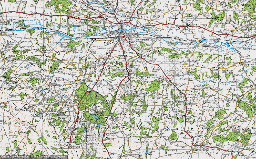 Old Map of Historic Map covering Adbury Ho in 1919