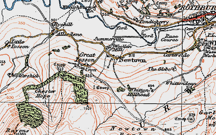Old map of Whitton Hillhead in 1925