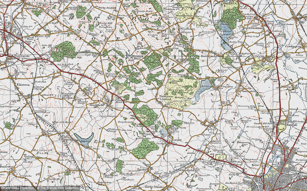 Old Map of Historic Map covering Lea Wood in 1921