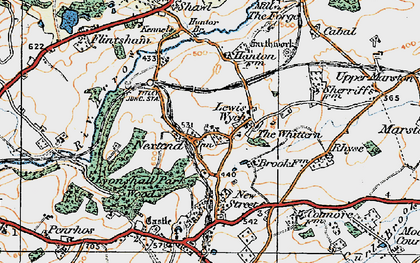 Old map of Whittern, The in 1920