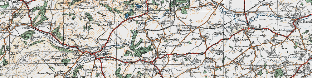 Old map of Lewis Wych in 1920