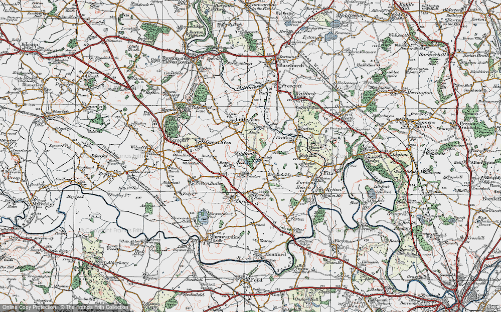 Old Map of Historic Map covering Little Ensdon in 1921