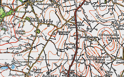 Old map of Nine Maidens Downs in 1919