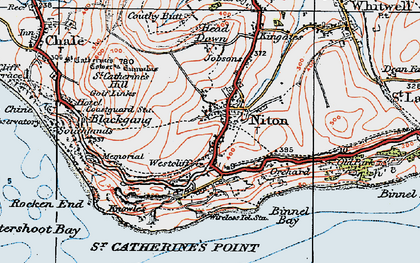 Old map of Niton in 1919
