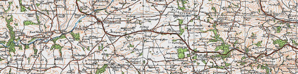 Old map of Woodscombe in 1919