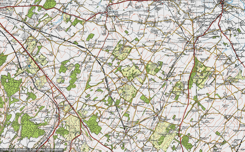 Old Map of Nonington, 1920 in 1920