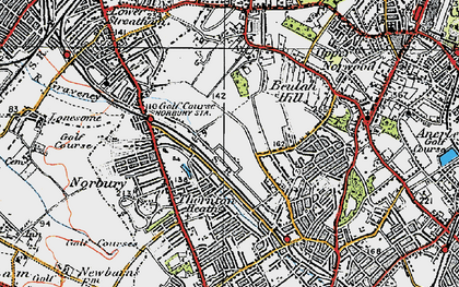 Old map of Norbury in 1920