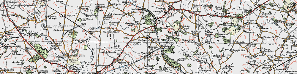 Old map of Norbury in 1921